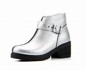 Ботинки натуральная кожа серебро