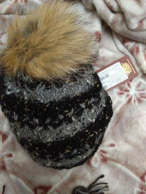комплект  шапка  и снуд  (черно- светло серая гамма)
