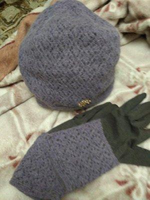 Оригинальный комплект  СЕРОГО  цвета (шапка, снуд и перчатки)