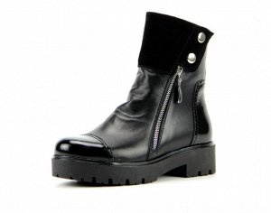 Ботинки кожа/лак черный демисезон