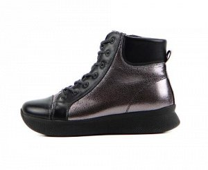 Ботинки натуральная кожа никель/черный