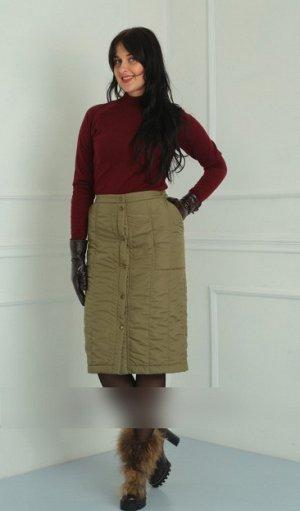 Юбка миди Рост: 164 см. Стильная стеганая юбка – оригинальная вещь в зимнем гардеробе. юбка из плащевой ткани выстеганная на синтепоне вместе с трикотажной контрастной подкладкой на полочке юбки обраб
