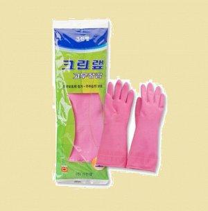 Перчатки из натурального латекса c внутренним покрытием (укороченные) розовые размер L, 1 пара