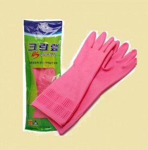 Перчатки из натурального латекса c внутренним покрытием (укороченные) розовые  размер M