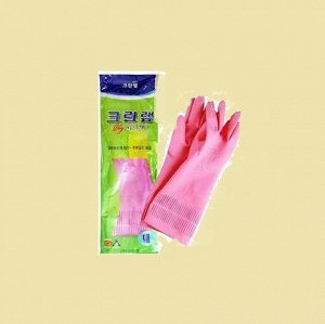 Перчатки из натурального латекса c внутренним покрытием (укороченные) розовые размер S, 1 пара