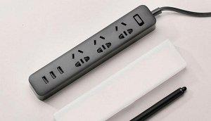 Удлинитель на 3 розетки + 3 USB-порта