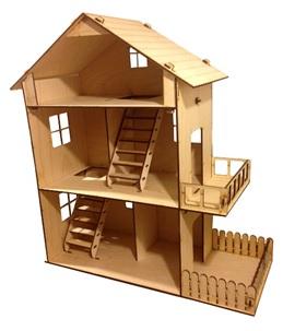 Дом для куклы 3-х этажный с двориком 8367, ДД3