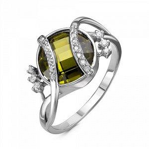 Серебряное кольцо с фианитом оливкового цвета - 009