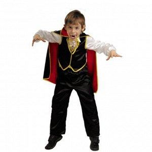 Дракула В комплект входят белая рубаха с черно-желтым жилетом, черные брюки, черно-красная накидка и зубы.
