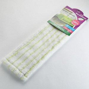 Насадка сменная из микрофибры для плоской швабры УЮТ-0001/Н2 белая с зеленым