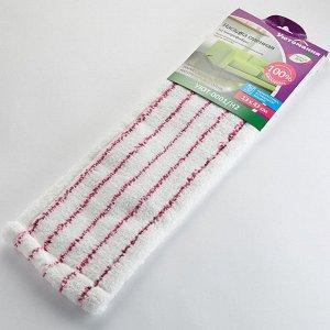 Насадка сменная из микрофибры для плоской швабры УЮТ-0001/Н2 белая с розовым