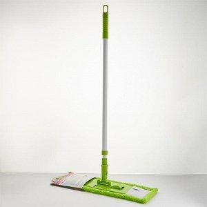 Швабра плоская с насадкой из микрофибры 55 гр, телескопическая ручка 120 см УЮТ-0001 зеленая