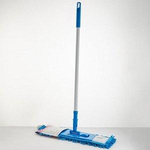 Швабра с насадкой Синель из микрофибры 70 гр, телескопическая ручка 120 см УЮТ-0002 голубая