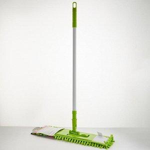Швабра с насадкой Синель из микрофибры 70 гр, телескопическая ручка 120 см УЮТ-0002 зеленая