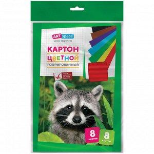 Картон цветной гофрированный A4, ArtSpace, 8л., 8цв., в пакете с европодвесом