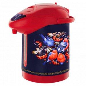 """Чайник-термос электрический 820 Вт, 2,8 л ВАСИЛИСА ВА-5006 """"Снегири в рябине"""" синий с красным"""