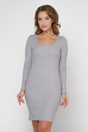 Платье Ткань: 95% вискоза, 5% эластан серый ОПИСАНИЕ Комфортное платье прилегающего силуэта из мягкого трикотажного полотна. Длинные втачные рукава. Круглая горловина на обтачке. Модель без застежек.