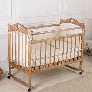 Кровать детская Incanto SOFI с сердечком (колесо, качалка, опуск.планка) (темный) KR-0008