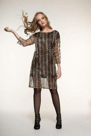 Платье Платье AMORI  9355  Состав ткани: ПЭ-100%;  Нарядное платье из сетки с леопардовым дизайном, на подкладке, сзади разрез, длина изделия на рост 164 - 90 см, 170 - 97см, длина рукава от горловин