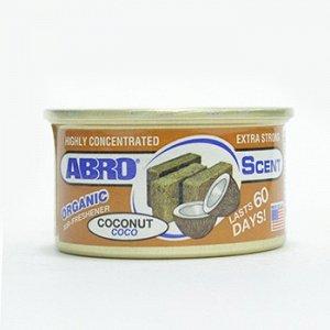 """Ароматизатор на торпеду """"Abro"""" Органик, Кокос, с растит. наполнителем, баночка 42 гр."""