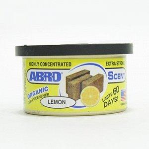 """Ароматизатор на торпеду """"Abro"""" Органик, Лимон, с растит. наполнителем, баночка 42 гр."""