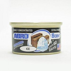 """Ароматизатор на торпеду """"Abro"""" Органик, Черный лед, с растит. наполнителем, баночка 42 гр."""