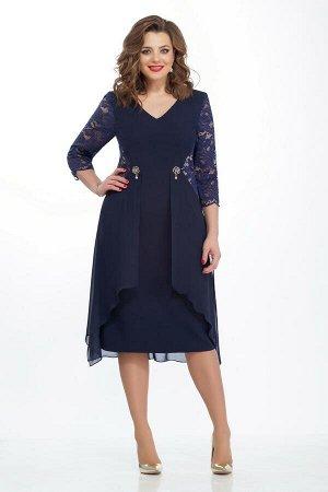 Платье Платье TEZA 121 синее  Состав ткани: Вискоза-20%; ПЭ-76%; Эластан-4%;  Рост: 164 см.  Платье в романтическом стиле полуприлегающего силуэта с втачными рукавами. Спинка со средним швом. В облас