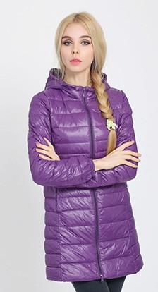 Женская удлиненная ультралегкая куртка  С КАПЮШОНОМ, цвет фиолетовый