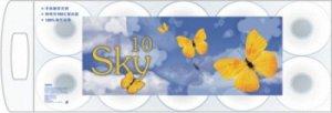 """""""SKY"""" Трехслойная туалетная бумага с ароматом ментола (в индивидуальной упаковке) 10рулонов"""