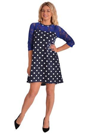 Платье П 681 (васильковый+горох)