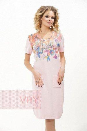 Платье трикотажное, бл.роза