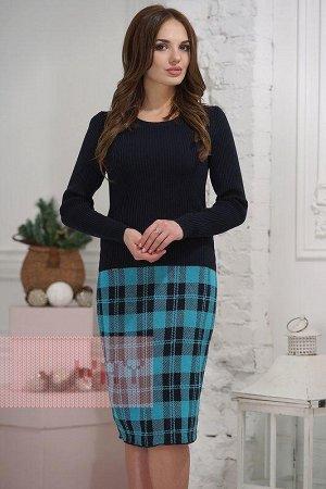 Платье женское трикотажное 46 разм. Цвет: 04/354 т.синий/св.лагуна
