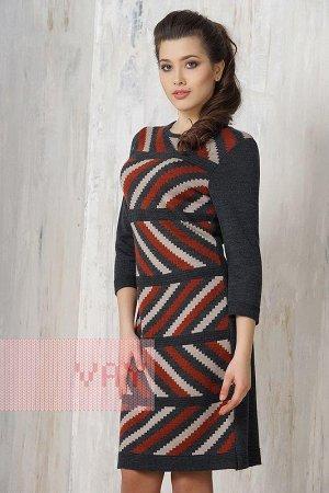 Платье женское. Цвет: 711/481/512 т.антрацит/т.керамика/св.верба