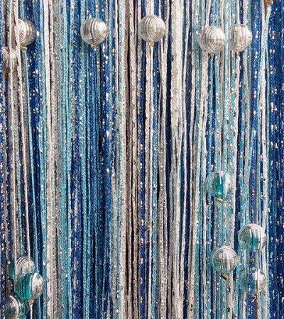 Нитяные шторы - Кисея! Огромный выбор, оптовая цена — Кисея дождь радуга с шарами — Шторы