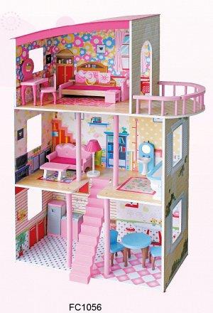 Деревянные игрушки: Кукольный дом 3 этажа ТХ1056 (1/1) (разм.75*30,3*110)