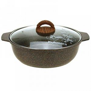 """""""Granit Ultra"""" Кастрюля с тефлоновым покрытием 3л, д26см, h9см, стеклянная жаропрочная крышка, ручка из термостойкого пластика, гранитный (Россия) - можно использовать металлические кухонные принадлеж"""