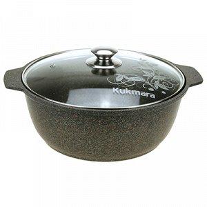 """""""Granit Ultra"""" Кастрюля-жаровня с тефлоновым покрытием 4л, д26см, h10,5см, стеклянная жаропрочная крышка, ручка из термостойкого пластика, гранитный (Россия) - можно использовать металлические кухонны"""