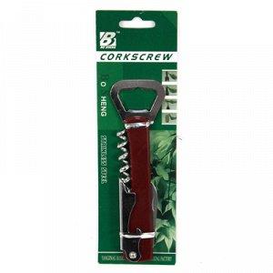 Нож складной + 3 предмета: штопор, открывашка-2 вида, нержавеющая сталь, 13,5х3х1см, пластмассовая ручка (Китай)