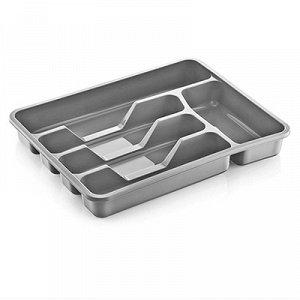Лоток для столовых приборов пластмассовый 34х27х5см, серебрянный (Россия)