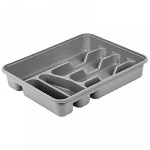 Лоток для столовых приборов пластмассовый 39х31х7см, серебренный (Россия)