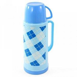 """Термос пластмассовый корпус, узкое горло """"Ромбы"""", с ручкой, стеклянная колба 1,8л, цвета микс (Китай)"""