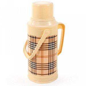 """Термос пластмассовый корпус, узкое горло """"Шотландка"""", с двумя ручками, стеклянная колба 3л, h39см (Китай)"""