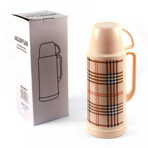 """Термос пластмассовый корпус, узкое горло """"Шотландка"""", с ручкой, стеклянная колба 1,8л h35,5см (Китай)"""