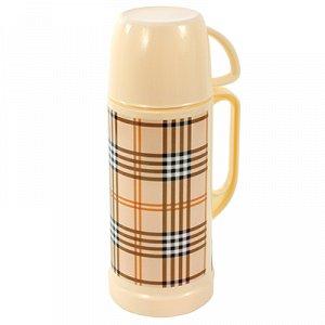 """Термос пластмассовый корпус, узкое горло """"Шотландка"""", с ручкой, стеклянная колба 1л, h30см, в коробке (Китай)"""