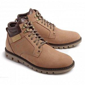 Ботинки зимние мужские, бежевый нубук