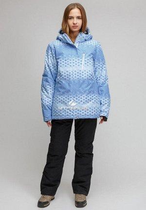 Женский зимний горнолыжный костюм большого размера голубого цвета