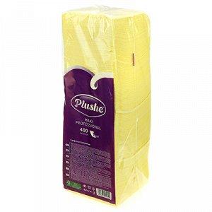 """Салфетки бумажные 24х24см """"Plushe Maxi Professional"""", 1 слойные, 400 штук в упаковке, сплошное тиснение, желтый (Россия)"""