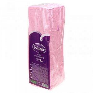 """Салфетки бумажные 24х24см """"Plushe Maxi Professional"""", 1 слойные, 400 штук в упаковке, сплошное тиснение, розовый (Россия)"""