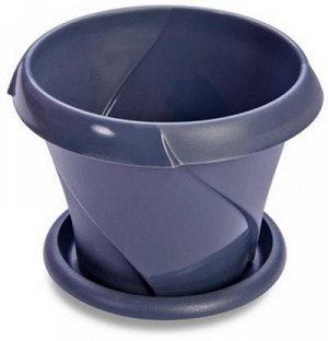 Кашпо Кашпо 0,7л с поддоном [ФЛОРИАНА] СЕРЫЙ. Размеры изделия: диаметр 135 мм., высота 108 мм.