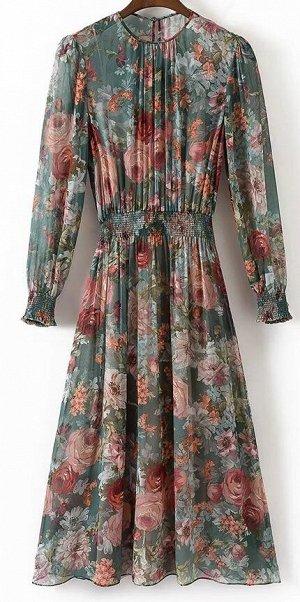 Платье из лёгкой ткани с цветочным принтом